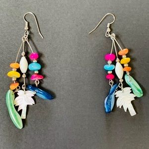 Colorful & Eclectic Palm Tree/Shell Drop Earrings